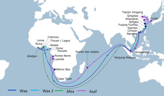 船只挂靠航线图